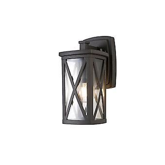 Luminosa Beleuchtung - Down Criss Cross Wandleuchte, 1 x E27, IP54, Anthrazit, Klarglas
