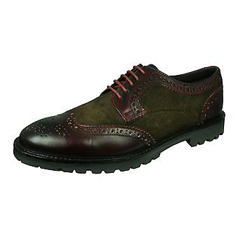 Base London Conflict Mens Leather Brogue Shoes - Brown