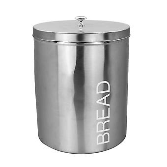 Contemporary Bread Bin - Steel Kitchen Storage Caddy with Rubber Seal - Silver