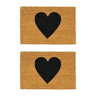Nicola Frühling 2pc Nicola Frühling Rutsch Tür Matte Set - natürliche Coir Indoor Outdoor Willkommen Matten - 60 x 40cm - schwarzes Herz