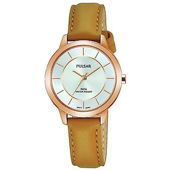 Pulsar Damen Tan Lederarmband Rose Gold Fall Silber Zifferblatt 50M Uhr (PH8374X1)