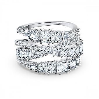 טבעת סברובסקי טוויסט לעטוף לבן רודיום מצופה