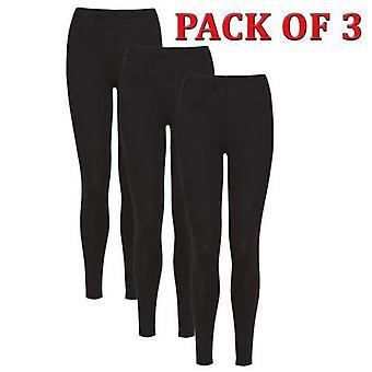 Damas de longitud completa estiramiento algodón negro leggings - paquete de 3