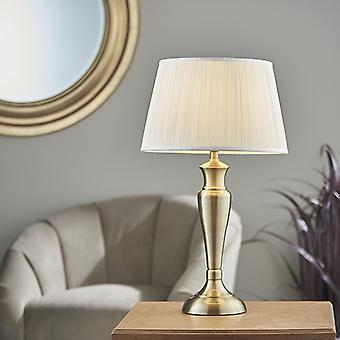 Endon Lighting Oslo & Freya - Lámpara de Mesa Antigua Placa de latón y Vintage Blanco Seda 1 Luz IP20 - E27
