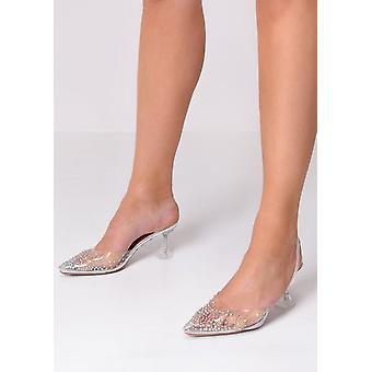 Transparente Perspex Sling Back Diamante Court Heels Silver