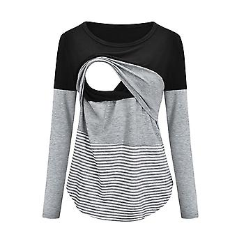 Maternity Clothes, Long Sleeve Striped O-neck Nursing Maternity Tops- Pregnancy