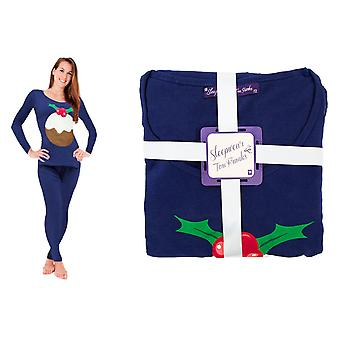Ladies Christmas PJ'S Blue Pudding size 12