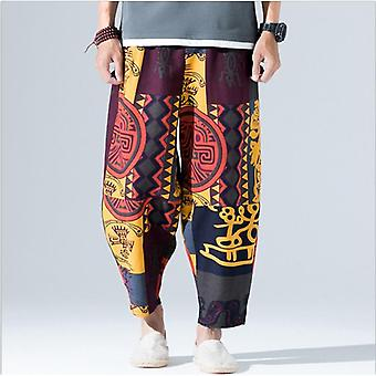 Wide Leg Pants Loose Broek, Retro Cotton Pants Casual Hip Hop Long