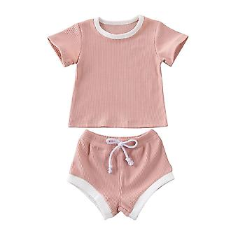 Baby Summer Clothes Short Sleeve Tops T-shirt+shorts Pants Ribbed Solid Outfits