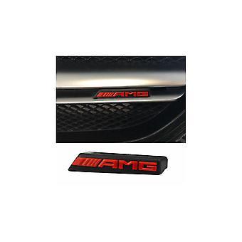 Black/Red Mercedes AMG Front Grill Bonnet Badge Emblem Bumper Grill Badge Emblem 85mm x 15mm