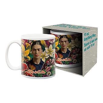 Frida kahlo - floral ceramic mug
