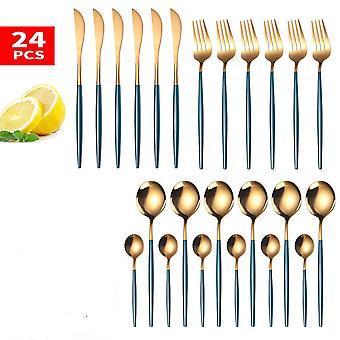 Zlatá jídelní sada nerezová ocel, stolní nůž, vidlička, lžíce, luxus