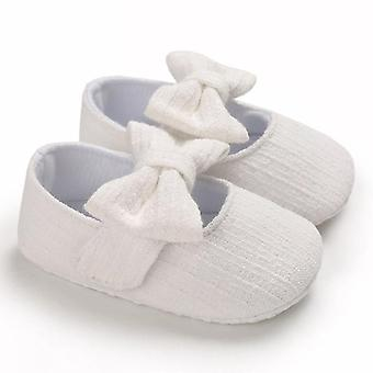 Newborn Baby Crib Pram Shoes, Soft Sole, Anti Slip, Cotton Princess Bowknot