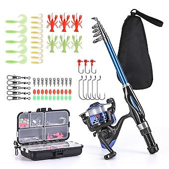 Fishing Rod And Reel Combo, Telescopic Spinning Set With Hooks, Soft Lures