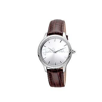 Just Cavalli JC1L023L0015 Womens light brown leather strap watch with silver dial