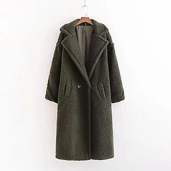 Winter Red Pink Teddy Coat, Women Faux Fur Vintage Thick Warm Long Winter