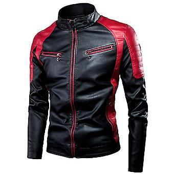 Pánske Jarné Príležitostné Motor spliced kožená bunda, kabát