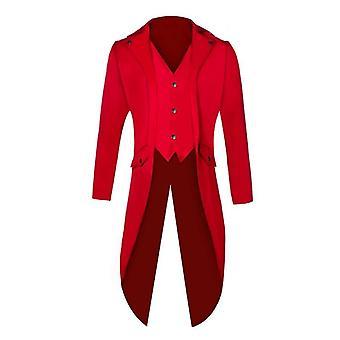 الرجال دعوى سترة طويلة واحد صدر معطف فستان الفيكتوري