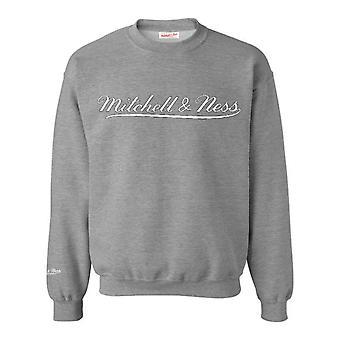 Mitchell & Ness Script Logo Grey Crew Neck Sweatshirt Mens Pullover Jumper A39E