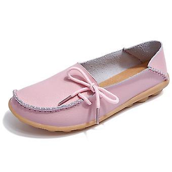 Summer Slipony Genuine Leather Slip On Ballet Bow Tie Ballet Flats Woman Shoes
