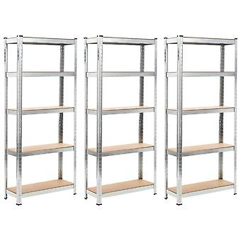Storage shelves 3 pcs. silver 75 x 30 x 172 cm steel and MDF