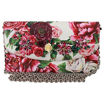 White Floral Roses Crystals Crossbody Micro Purse Bag