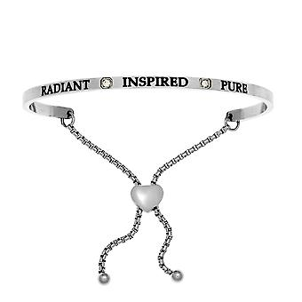 """Intuitions Stainless Steel Radiant, Inspired, Pure April Clear Birthstone  Bangle Bracelet, 7"""""""