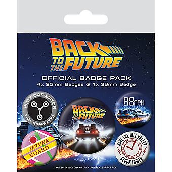 Back To The Future Delorean Badge Set (Pack of 5)