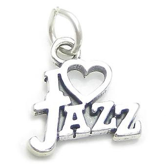 I Love Jazz Sterling Silver Charm .925 X 1 Music Musician Charms - 3999