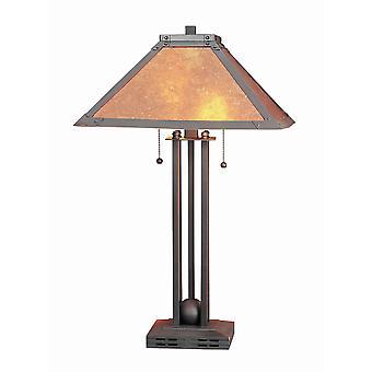 Lámpara de mesa de cuerpo de metal incrustación de bola con sombra de mica cuadrada, bronce