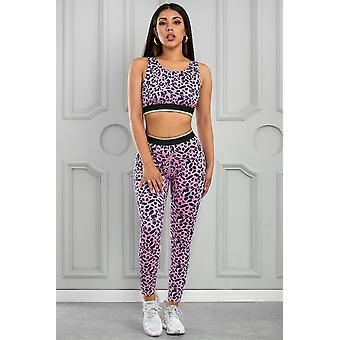 Leopard Print Active Bra Yoga Broek Set