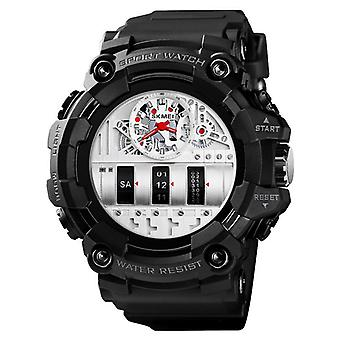 SKMEI 1557 Dual Time Display Sport Men Wrist Watch PU Leather Band Quartz Watch