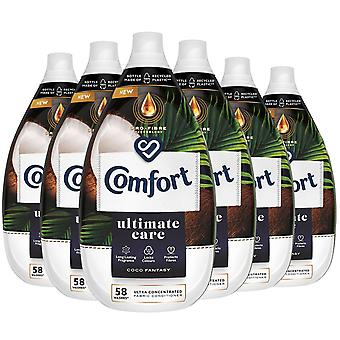 6x of 870ml Comfort Coco Fantasy Ultra Concentrated Fabric Conditioner 58W