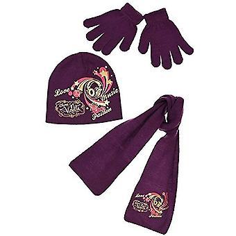 Mädchen Disney Violetta Set Beanie Mütze, Schal & Handschuhe