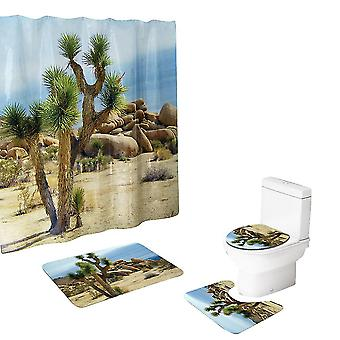 4-Pcs Desert Green Tree Shower Curtain Sets
