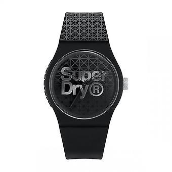 Superdry Watch SYG268B-Urban geo sport runde sag i sort plastik dial mønstrede d grad sort og grå silikone armbånd mønstret d grad sort og grå