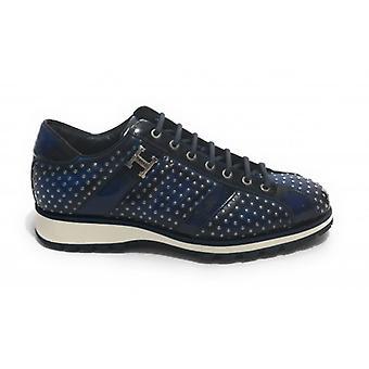 Herrskor Harris Läder Sneakers Ja Skugga Blå Med Microborches U17ha153