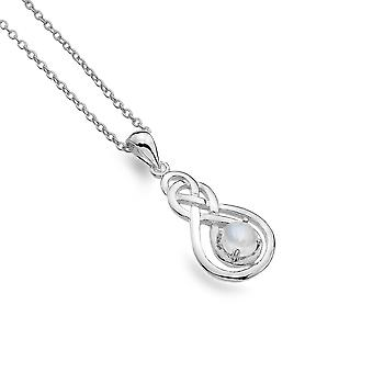 Collier Sterling Silver Pendentif - Celtic Double Knot + Moonstone