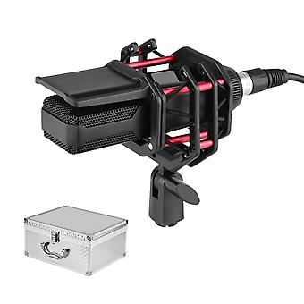 Condensator microfoon met schok mount pop filter 3-pins xlr kabel aluminiumlegering draagtas