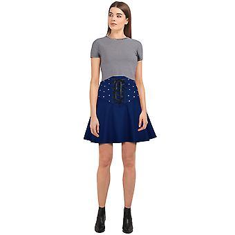 Chic Star Ribbon Skirt In Blue/Stud