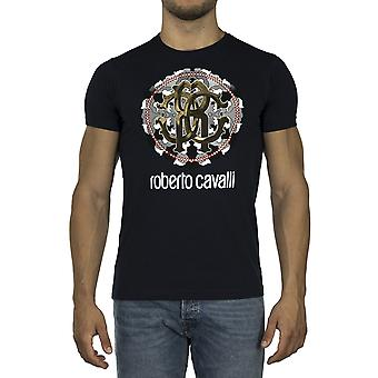 Roberto Cavalli Men Printed T-shirt Blue