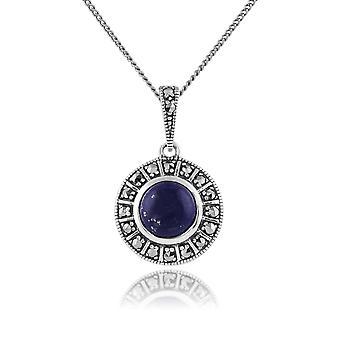 Art Deco Style Pyöreä Lapis Lazuli Cabochon & Marcasite riipus kaulakoru 925 Sterling Hopea 214N646503925