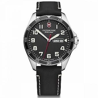 Relógio de couro preto Victorinox FieldForce masculino - 42 mm