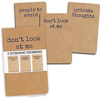 Archie mcphee - set van 3 introverte notebooks