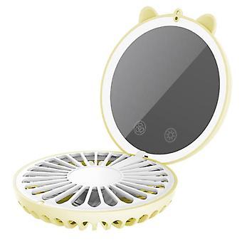 Mini ventilateur suspendu cou usb cartoon miroir remplir la lumière portable pliable ventilateur rechargeable