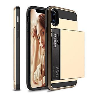 VRSDES iPhone SE (2020) - Wallet Card Slot Cover Case Case Business Gold