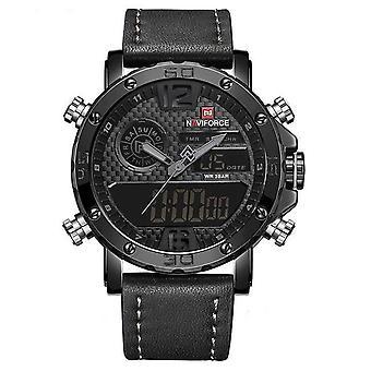 Luxury Brand Men Leather Sports Watches(Black)