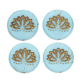 Tjeckiska glaspärlor, Lotus Flower Coin 18mm, Sky Blue Silk Matte, Gold Wash, 4 Pc, av Raven's Journey