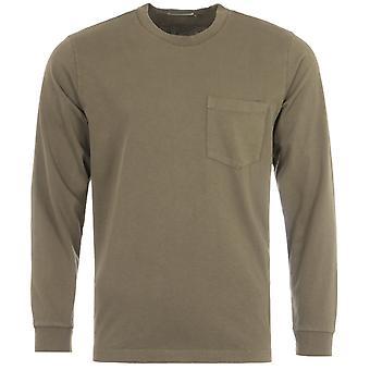 Nudie Jeans Co Rudi Long Sleeve Pocket T-Shirt - Army Green