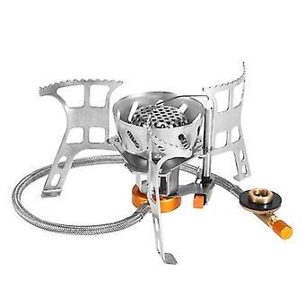 Poêle à gaz de camping portable coupe-vent Poêle à cuisson extérieur Brûleur fendu pliable